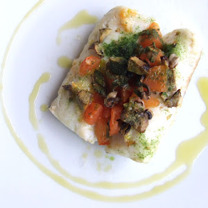 Hake Fillets with Tomatoes and Mushrooms