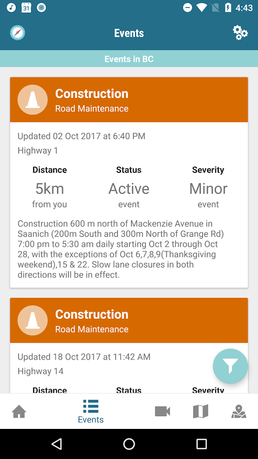 BC Highways - Road Conditions- screenshot