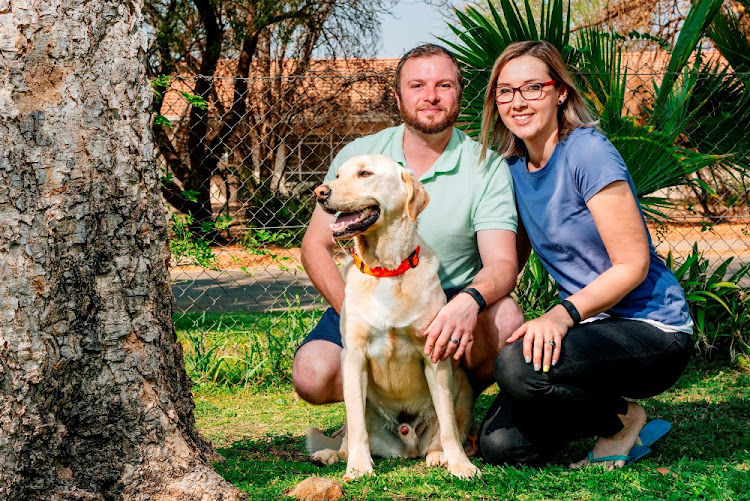 DOWN WITH THE FAT: Trim Kapow with pet parents Johan and Nadia Uys.