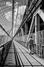 Photo: Nikon FE film, scanned and processed digitally walking across the Manhattan Bridge, New York City #filmphotography  #streetphotography  #shootthestreet