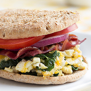 Turkey Bacon, Egg White, Spinach Breakfast Sandwich