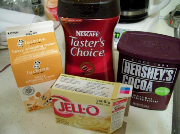 "Mix together Pudding Mix with 1 cup milk.Beat Well.Add: 1 cup Heavy cream, ""Whip..."