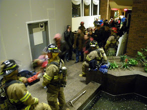 Photo: Fire on the tenth floor of the Holiday Inn Plaza le Chaudiere, 4:30 am, returning to our rooms