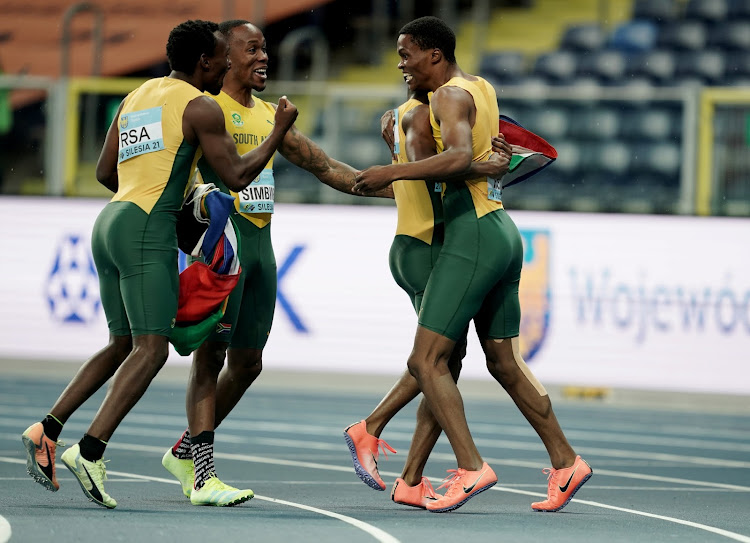 South Africa's Thando Dlodlo, Gift Leotlela, Clarence Munyai and Akani Simbine celebrate winning the Men's 4x400 Metres Relay final Athletics.