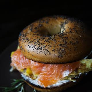 Smoked Salmon and Egg Breakfast Sandwich.