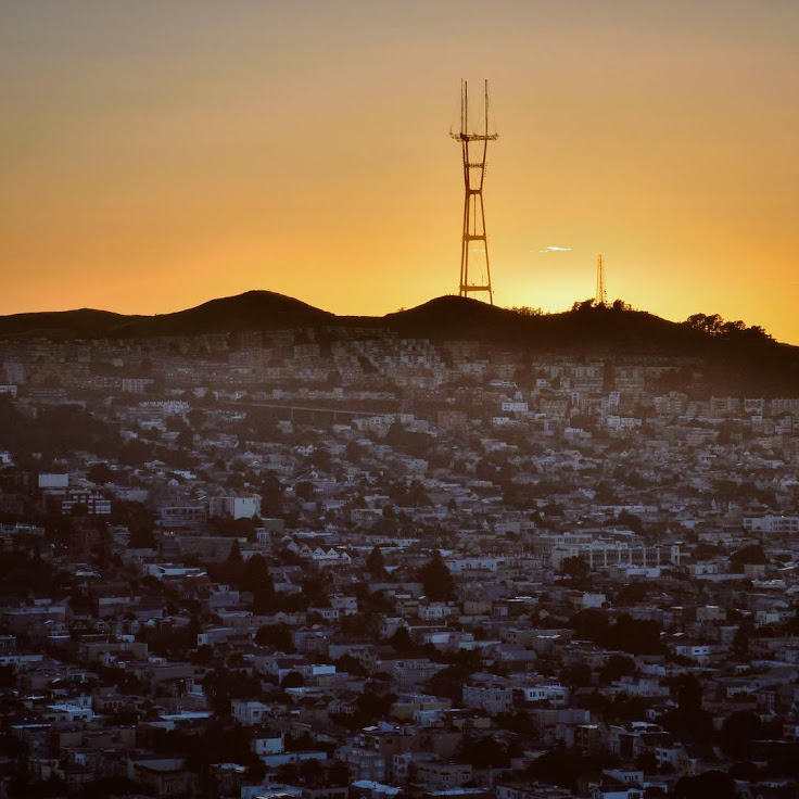 Sutro Tower looks down on San Francisco.