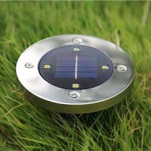 Set 8 x lampa solara cu 4 LED si senzor de lumina cu fixare in sol