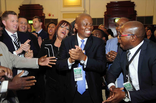 DA's Herman Mashaba celebrating his victory after being elected as the new Mayor of Johannesburg. Photo Thulani Mbele. 22/08/2016