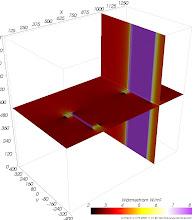 Photo: Wärmestromdichten auf den Schnittebenen (zur Identifikation von Wärmebrücken) Farbskala: Astronomie Werteintervall: 2-8 W/m²