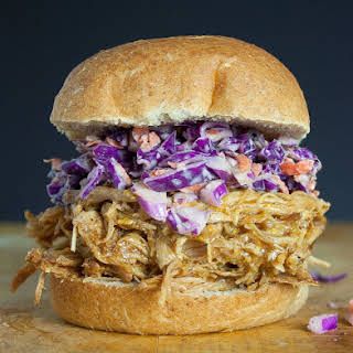 Slow Cooker Pulled Pork Sandwich with Purple Slaw.