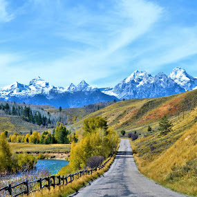 Road to the Tetons by Trudy Mader - Landscapes Mountains & Hills (  )