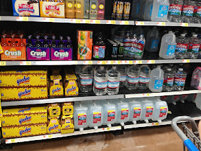 Photo: We also looked next to yoo-hoo but it wasn't there. We asked an employee and she thought it might be with the bigger bottles of milk. No luck there either, so we decided to leave it for our next trip.
