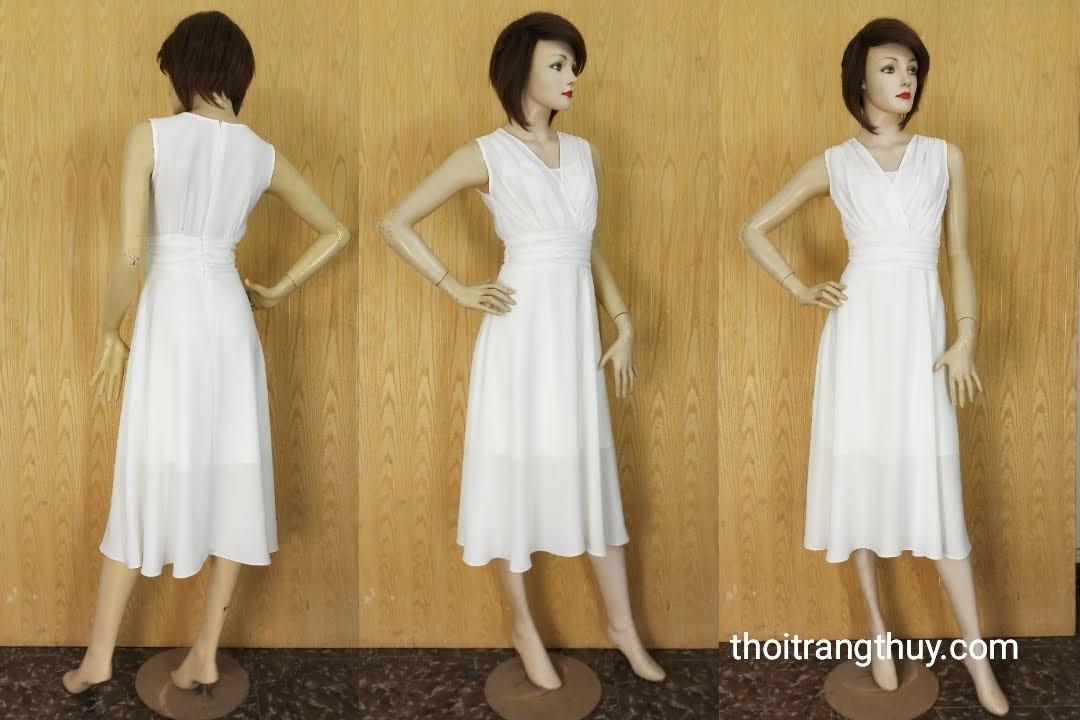 Váy xòe dự tiệc cổ chữ V vạt chéo xếp nhún V595 Thời Trang Thủy
