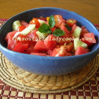 WATERMELON AND TOMATO SALAD.