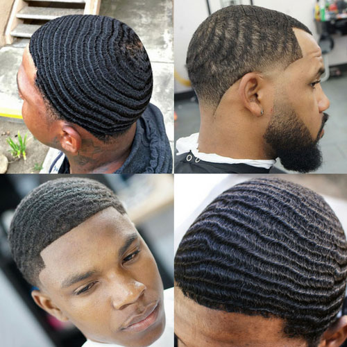 Four pictures of black men with waves in their hair
