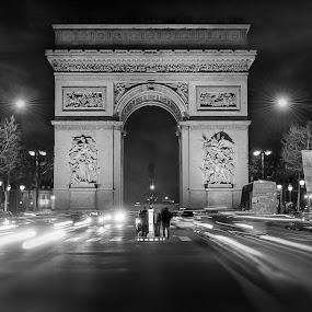 by Victor Harris - Buildings & Architecture Public & Historical ( paris, orange, landmark, landmarks, arc de triomphe, dark, architectural, france, travel, architecture, champs élysées,  )
