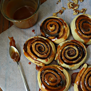 Cinnamon Rolls with Whiskey Caramel Sauce.