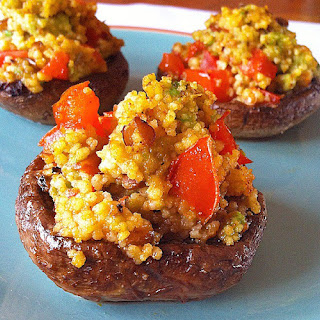 Avocado and Couscous Stuffed Mushrooms.