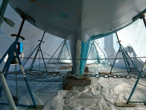 Photo: looking aft along center line prior to removing bottom paint.