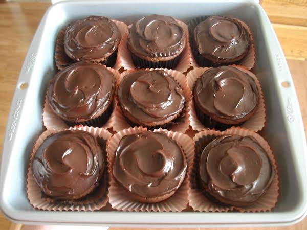 I Opt To Make Cupcakes Using This Recipe, Rather Than A Cake. I Frosted The Cupcakes Using A Container Of Rich & Creamy Chocolate Frosting, Which I Purchased From Aldi's. I Also Had To Tweak The Recipe A Bit, Using Ingredients I Had On Hand.