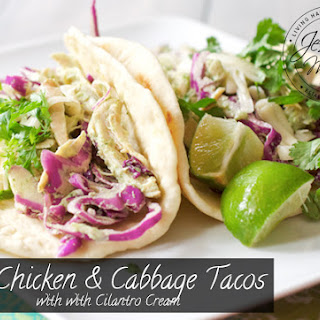 Chicken and Cabbage Tacos with Cilantro Cream