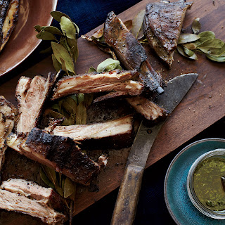 Grilled Lamb Ribs with Chimichurri.