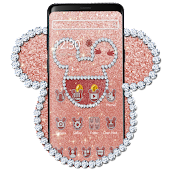 Rose Gold Glitter Cute Mouse Theme