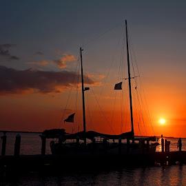 Drunk on the Jukebox Light by Michiale Schneider - Transportation Boats ( sky, pier, mast, sunset, water, boat,  )