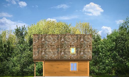 Chatka drewniana - Elewacja prawa