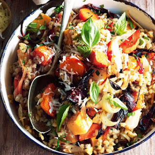 Roasted Vegetable And Caramelised Garlic Barley Risotto