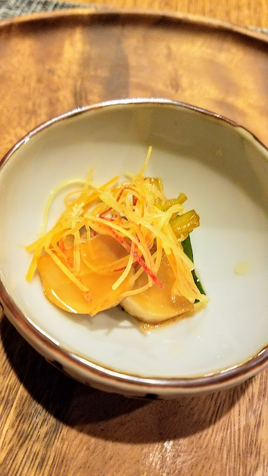 Nodoguro Princess Mononoke Sousaku Course 9: Shiitake, turnip, and seaweed salad