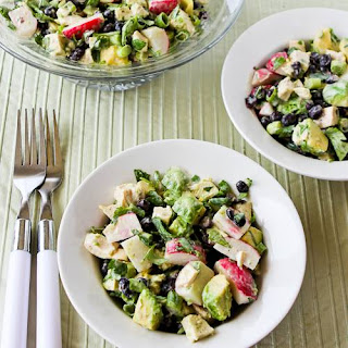 Chicken, Black Bean, Avocado, and Radish Salad with Lime and Cilantro.