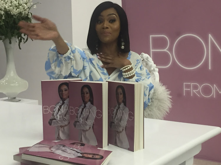 Bonang at the relaunch of her book at the Mall of Africa.