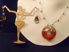 Photo: <BEREHYNYA> {Great Goddess Protectress} unique one-of-a-kind statement jewellery by Luba Bilash ART & ADORNMENT  Glass foil pendant, braided SS, freshwater pearls, garnets SOLD/ПРОДАНИЙ