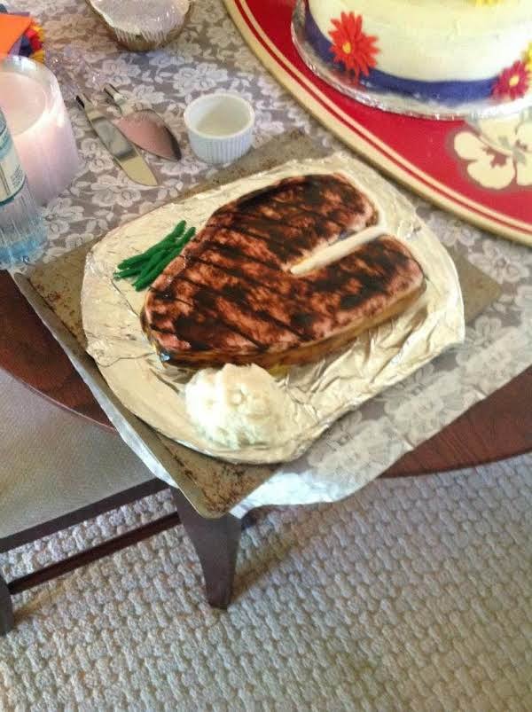 Steak Anyone? This Handpainted Fondant Steak Cake Was Enjoyed At Cindy And Em's Wedding Last Saturday. Inside Was Vanilla Icing,deep Chocolate Cake And Raspberry Filling, Fondant Beans And Real Mashed Potatoes Completed The Look.