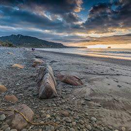 Rapahoe Bay by Ian Pinn - Landscapes Beaches ( sand, new, sunset, tide, zealand, beach, rocks, coast )