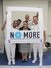 Photo: CAPT J. M. Ward,USN CMDCM(SW) J. J. Gonzalez, USN, LT J.K. Call, USN, Christine Pervez-Cruz, and Fernando Meave support this worthy cause and stand against the violence!