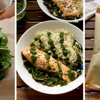Parchment Baked Salmon with Spinach.