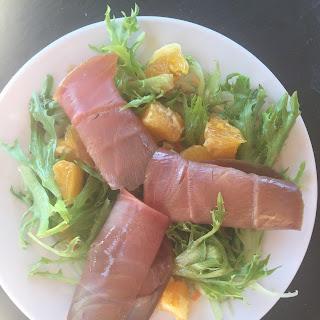 Tuna Carpaccio with Orange and Pomegranate Salad