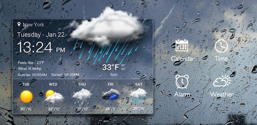 Clock & Weather - Rainy for PC