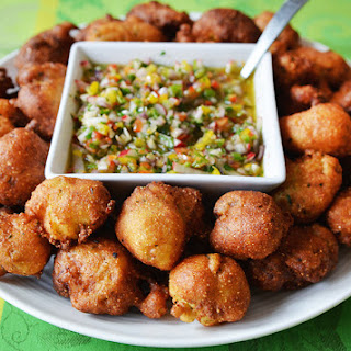 Oyster Hush Puppies with Pepper Mojo Recipe