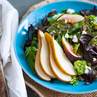 Pear, Fig, and Vegan Goat Cheese Salad