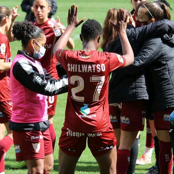 Cynthia Shilwatso joins EF Logroño team mates in celebration after winning a recent league encounter.