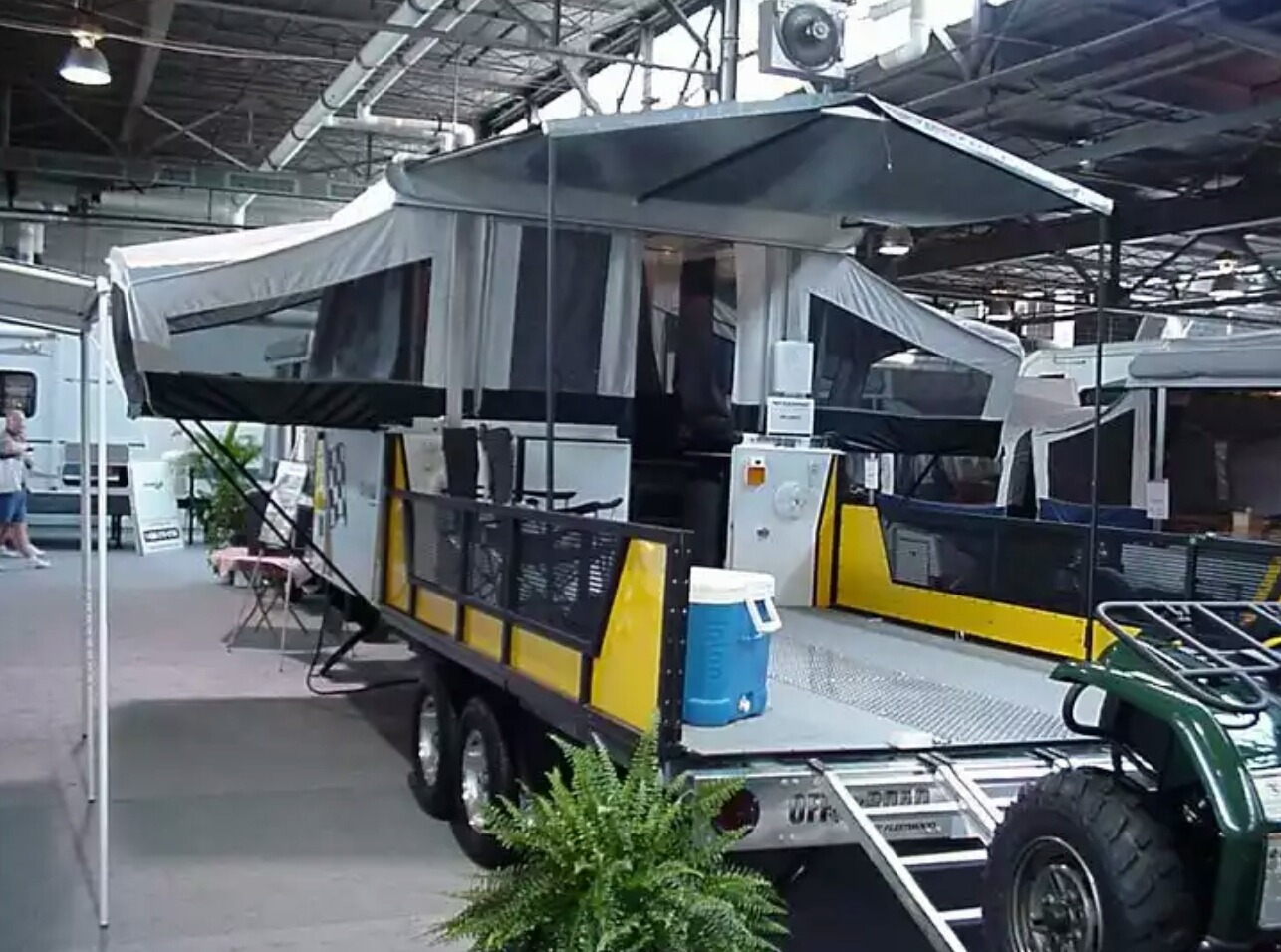 Toy Hauler with Slide-out folding camper and porch