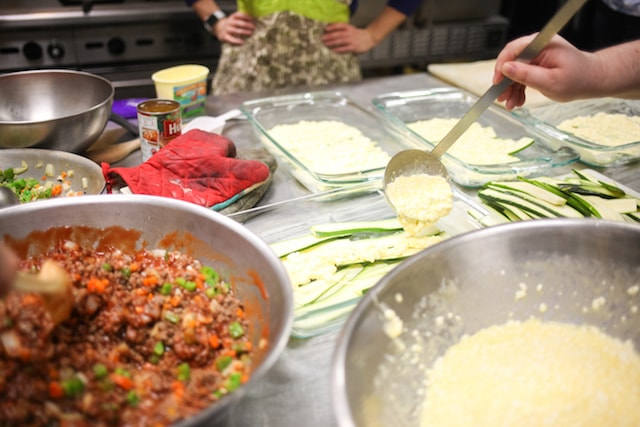 Making lasagne at Transitions Project