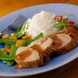 Pork Tenderloin with Hoisin-Raisin Sauce.