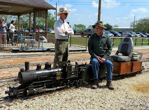 Photo: Stationmaster Barry Tobias talks with hostler Cody Crawford.     HALS Public Run Day 2014-0419 RPW  11:23 AM