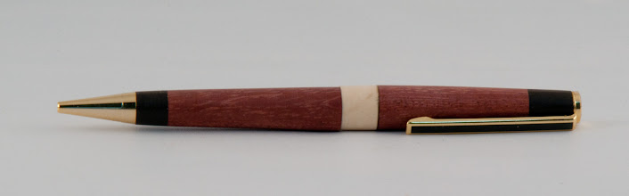 "Photo: Carl Powell - 1/2"" x 5 1/2"" pen for the troops [purpleheart, ebony, holly]"