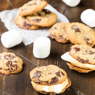 S'mores Cookie Sandwiches with Roasted Marshmallows.