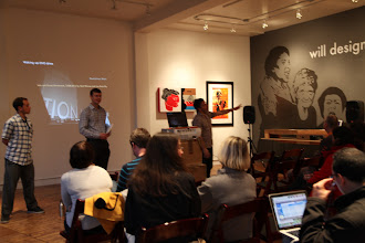 Photo: Jeff Perlstein giving the introduction to the talk, explaining the space.